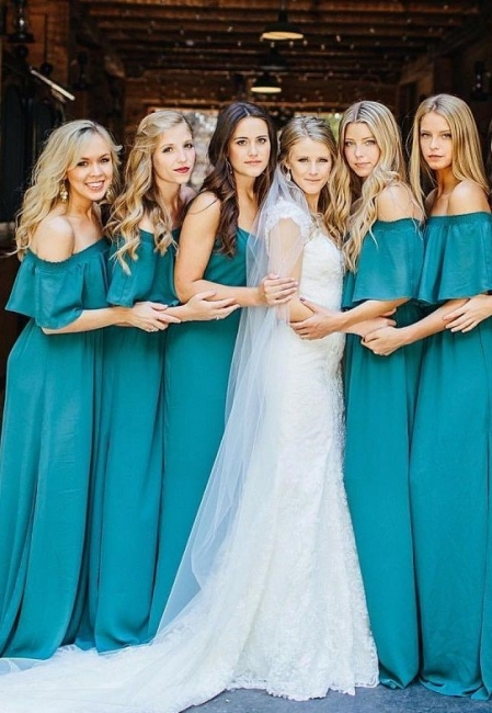 Elegant Hunter Off Chiffon Wedding Elegant Shoulder Long Party Green Bridesmaid Dress
