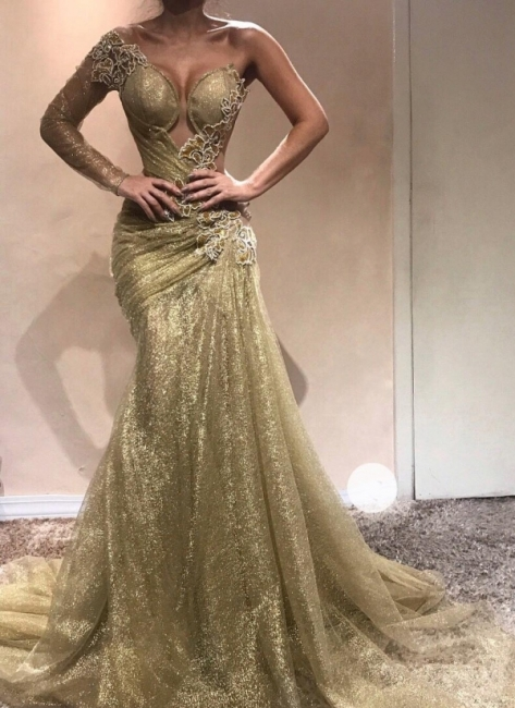 Shiny Gold Mermaid Evening Gowns | One Sleeves Beading Ruched Prom Dresses