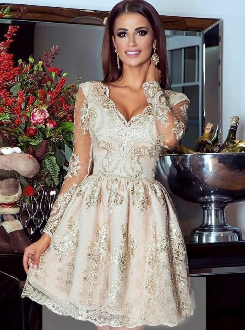 Glamorous Gold A-Line Homecoming Dress | V-Neck Long Sleeves Lace Appliques Short Cocktail Dresses