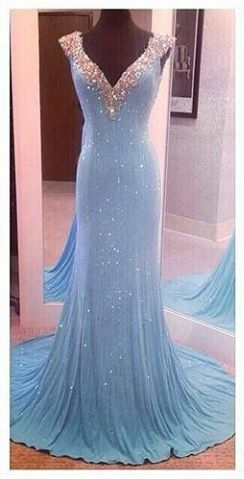 Sky Blue Prom Dresses V Neck Crystals Shiny Fabric Amazing Mermaid Evening Gowns