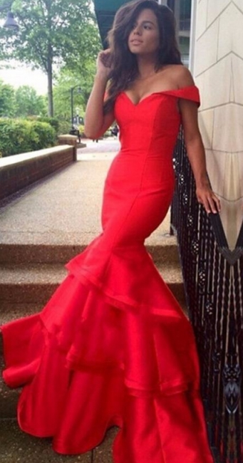 Red Mermaid Prom Dresses Off the Shoulder Tiers Ruffles Train Sexy Formal Evening Gowns
