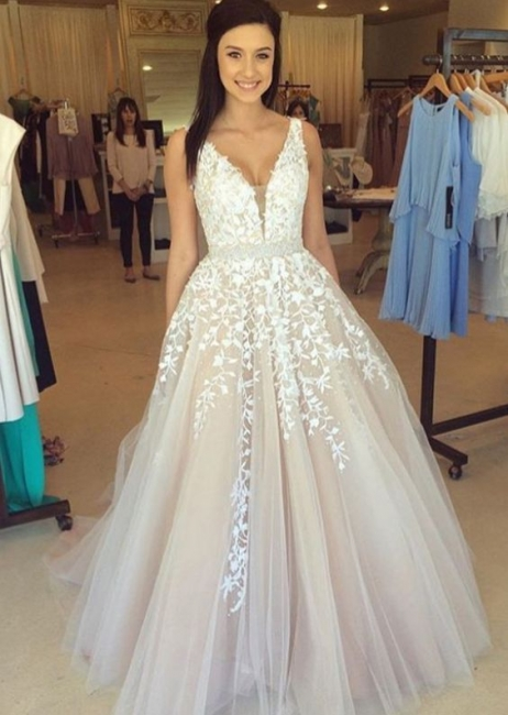 A-line Prom Dresses with Lace Appliques Beaded Waist Elegant Evening Gowns