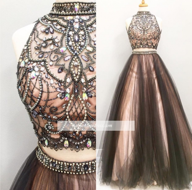 Glamorous Tulle Two-Pieces A-Line Prom Dress Crystal Sleeveless Evening Gowns