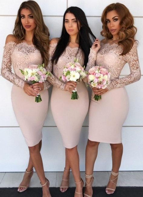 Chic Short Sheath Bridesmaid Dresses | Off-the-Shoulder Lace Maid of the Honor Dress