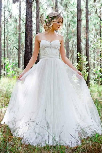 Cheap Simple A-Line Spaghetti Straps Tulle Wedding Dress with Beadings