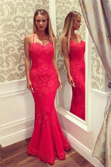 Sweetheart Spaghetti Floor-length Appliques Mermaid Prom Dresses