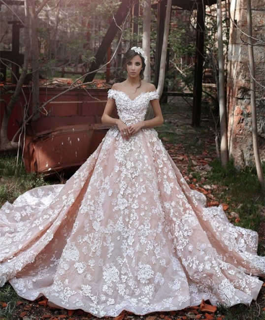 Elegant Pink Off-the-shoulder Appliques Wedding Dresses 2020 Chapel Train Party Dresses