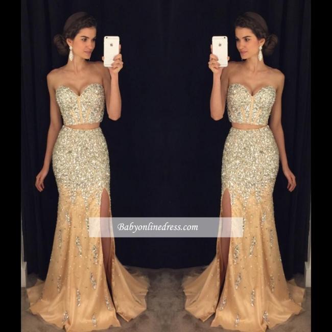 2018 Luxury Mermaid Side-Slit Two-Pieces Sweetheart Crystal Prom Dress