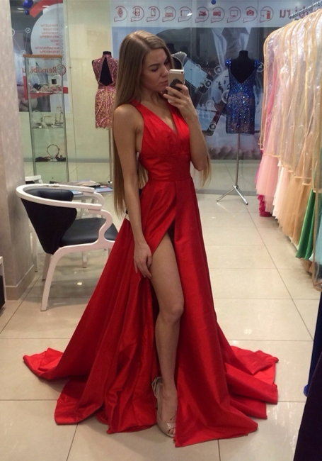 Red A-line Prom Dresses V Neck Thigh-High Slit Sexy Long Evening Gowns