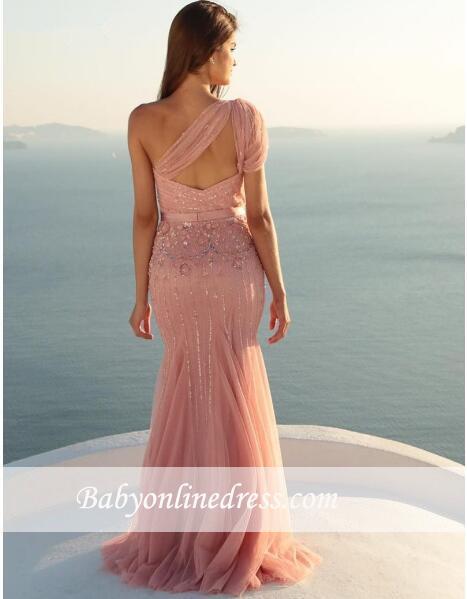 Mermaid Sleeveless Long Beads One-Shoulder Modest Prom Dress