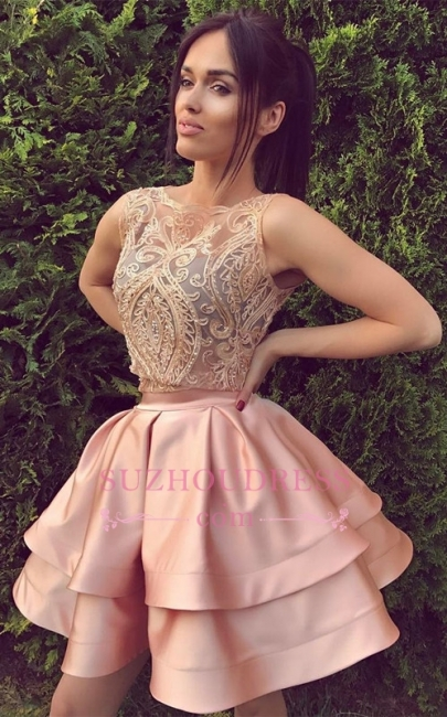 A-Line Bateau Sleeveless Appliques Sexy Mini Two Pieces Lace Homecoming Dresses