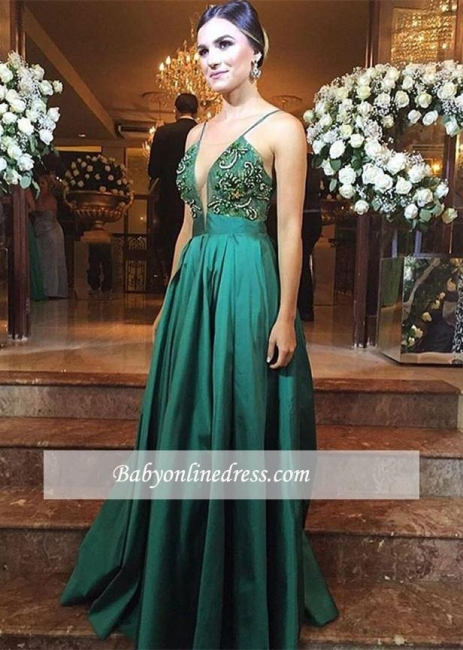 Alluring Spaghetti Straps Evening Dresses | Green Open Back Prom Gowns