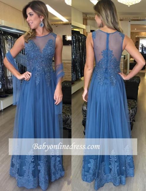 Applique Sleeveless Elegant Floor-Length A-Line Tulle Prom Dresses