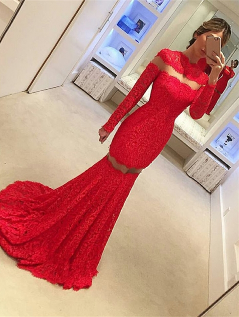 2018 Sexy Mermaid Lace Prom Dress Long Sleeve Red Sweep Train Evening Gowns