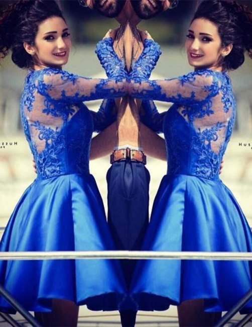 Royal Blue Homecoming Dresses Long Sleeves Short Party Dresses