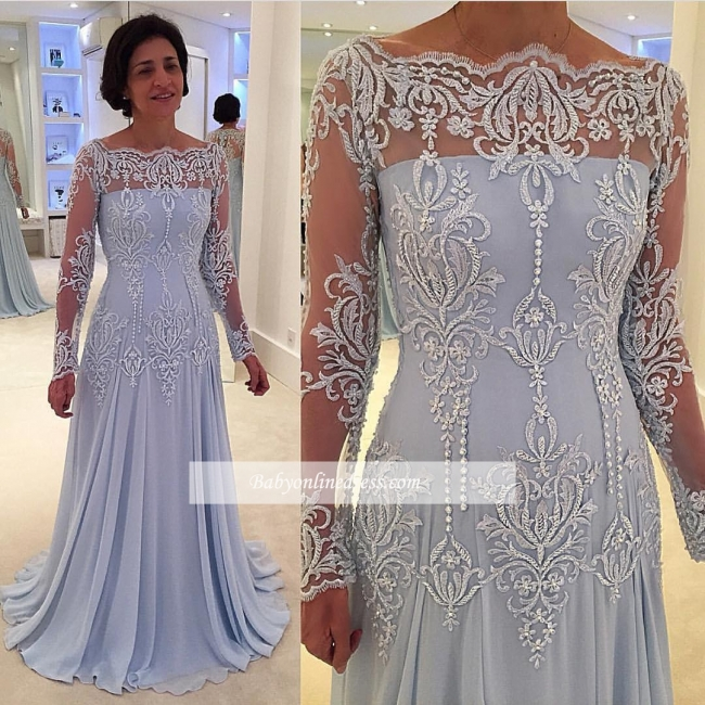 Lace Elegant Long-Sleeve A-line Mother-the-bride Dress
