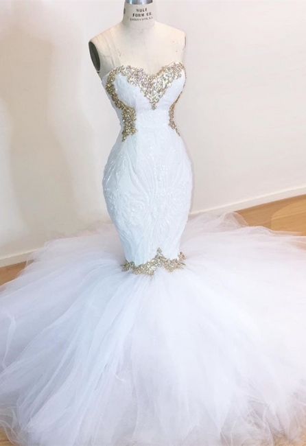 Stylish Mermaid Wedding Dresses | Strapless Tulle Bridal Gowns