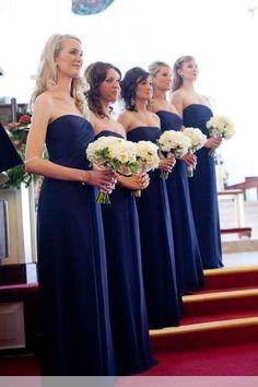 Chic Royal Blue Long Chiffon Evening Bridesmaid Dresses