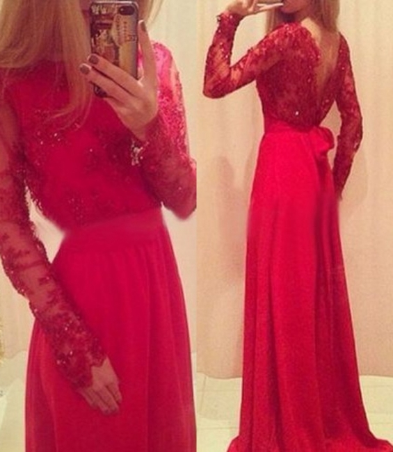 Red Long Prom Dresses Lace Beaded Long Sleeves with Bow Formal A-line Evening Gowns