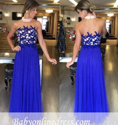 Tulle Halter Royal-Blue Long Gorgeous Beading High-Neck Prom Dresses