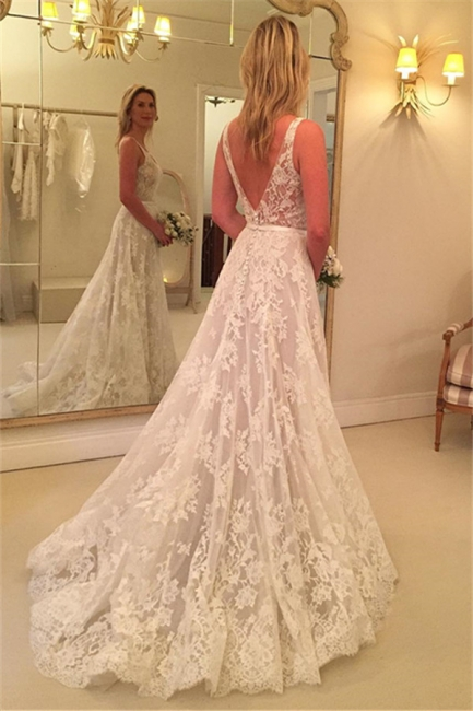 A-line Sleeveless Buttons Lace Appliques V-Neck Wedding Dress