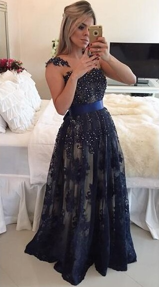 Dark Navy Blue Beaded Long Prom Dresses Lace Floor Length A-line Evening Gowns