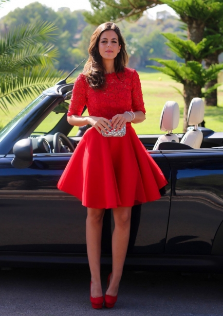 Half Sleeves Red Lace Short Homecoming Dresses Mini Backless Formal Party Dresses