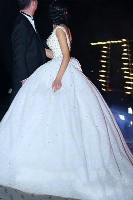 Bridal Scoop A-line Wedding Gowns   Sleeveless Pearls Wedding Dresses