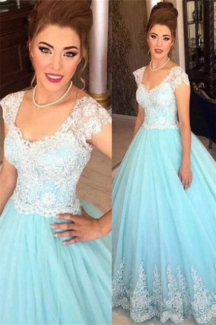 A-Line White Blue Lace Tulle Prom Dresses 2018 Floor Length Quinceanera Dresses