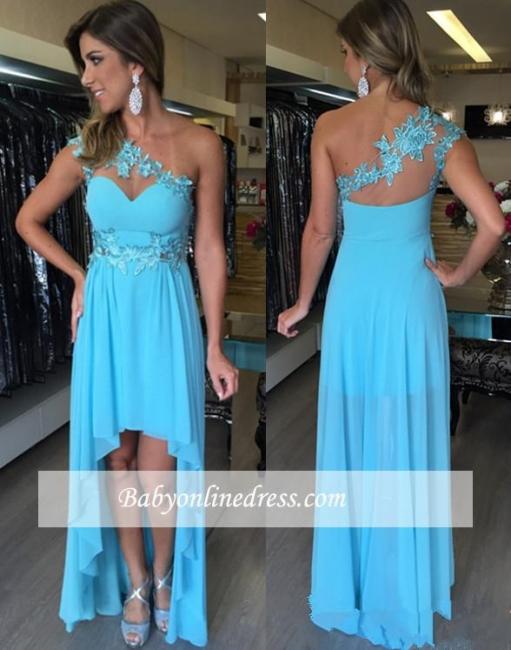 Applique Sleeveless Hi-Lo Chiffon One-Shoulder Empire Prom Dresses