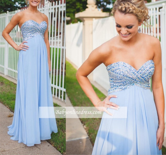 Chiffon Light-Blue Sweetheart Long Empire Crystal A-Line Prom Dresses