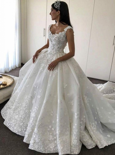 Gorgeous Ball Gown Wedding Dresses | Straps Floral Princess Bridal Gowns