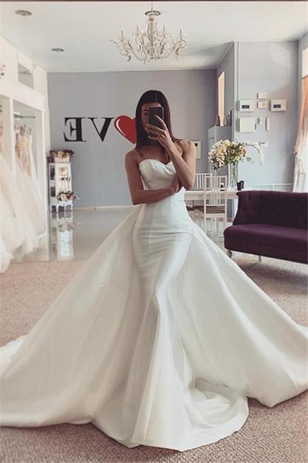 Strapless Sweetheart Stiff Detachable Overskirt Wedding Dresses