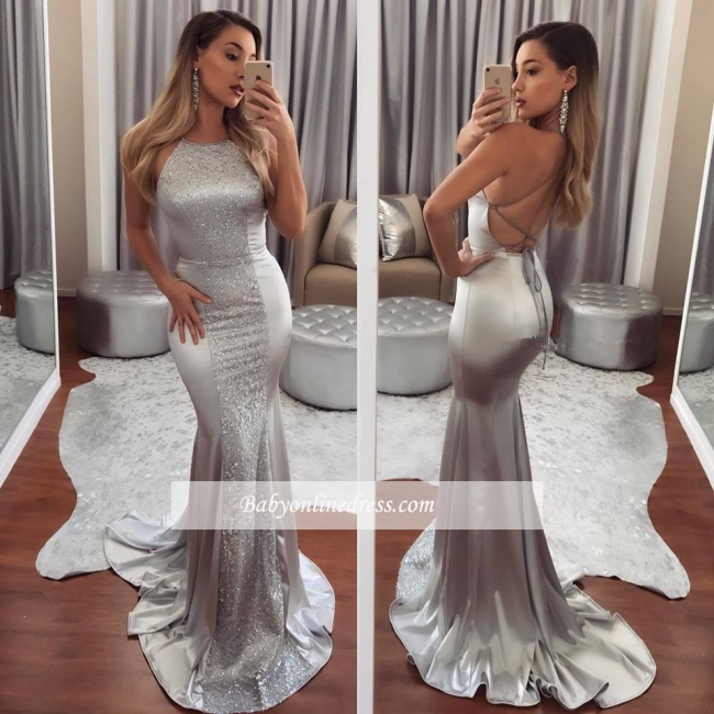 Sleeveless Beadings Mermaid Gorgeous Halter Evening Dress