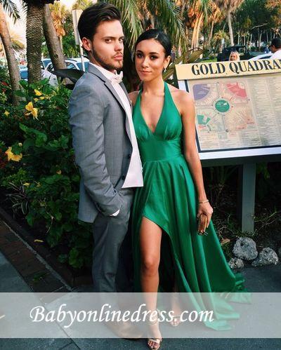 Sexy Green Sleeveless V-Neck Party Dresses Side-Slit A-Line Prom Dress