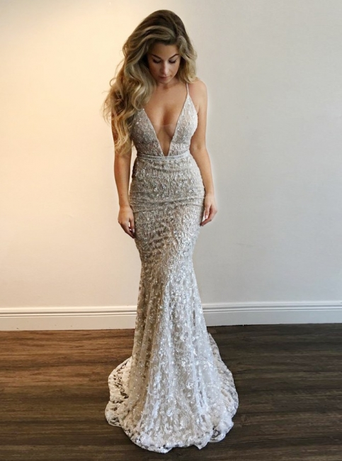 Sexy Spaghettis Straps Evening Gowns | V-Neck Open Back Prom Dresses