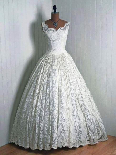 Vantage Elegant Lace Sleeveless Bridal Gowns Floor Length Wedding Dresses