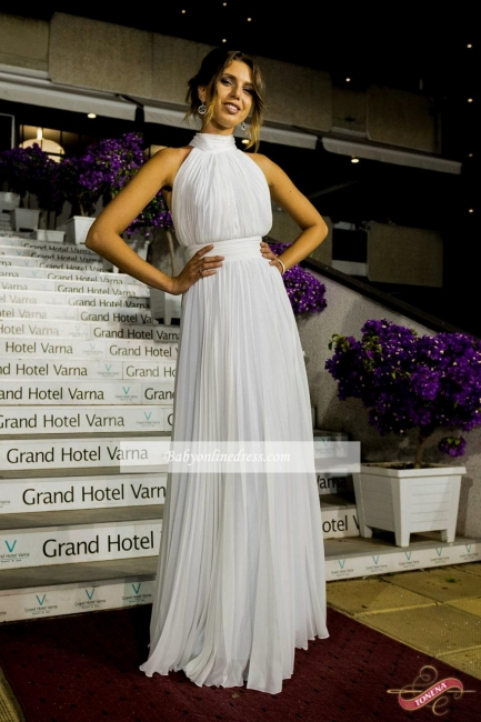 Elegant Chiffon Ruched White High Neck Long Prom Dress