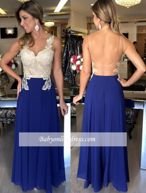 Elegant A-Line Sleeveless Natural Applique Open-Back Prom Dresses