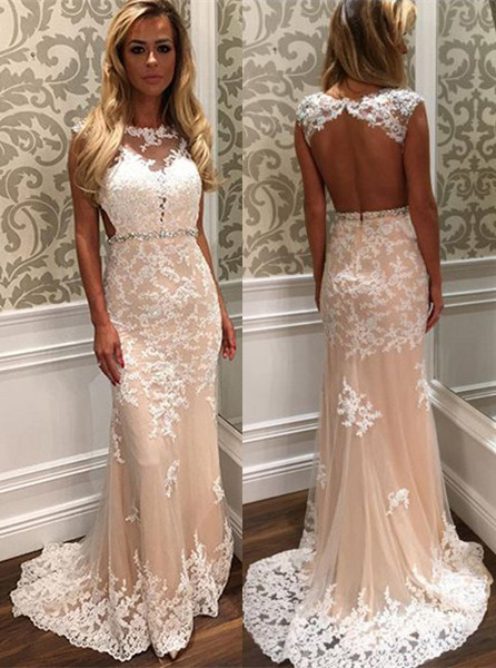 Gorgeous Tulle Lace Open Back Crystal Long Prom Dress BA4294