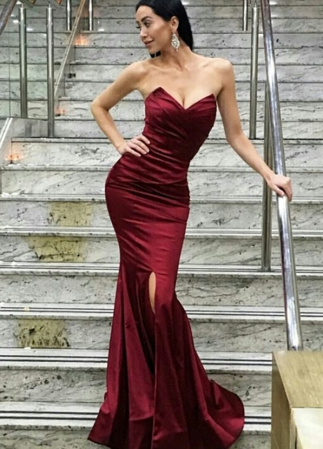 Burgundy Mermaid Prom Dresses Ruched Front Slit Long Sexy Evening Gowns