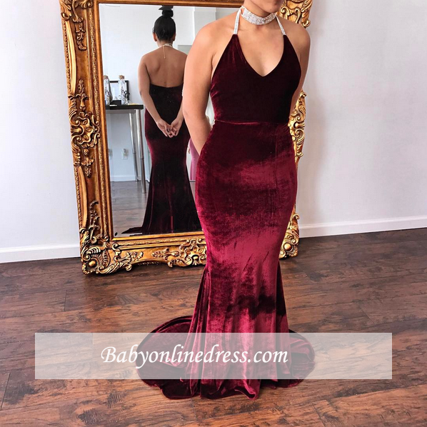 2018 V-Neck Halter Velvet mermaid Glamorous Evening Dress
