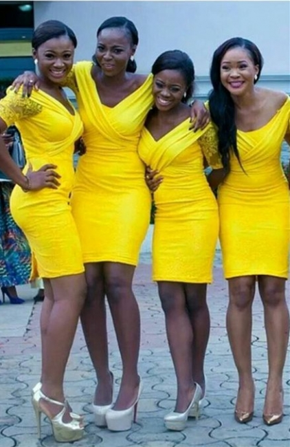 Bodycon Off-the-shoulder Sexy Yellow Mini Lace Bridesmaid Dress