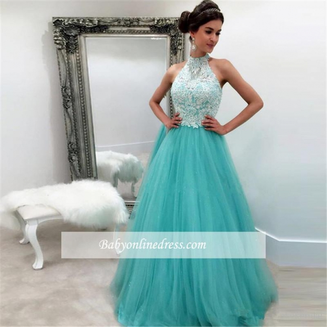High-Neck Tulle Elegant A-line Lace Sleeveless Evening Dress