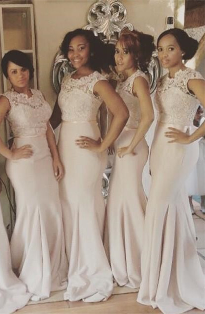 Lace Top Mermaid Bridesmaid Dresses Sleeveless with Sash Long Formal Wedding Party Dresses