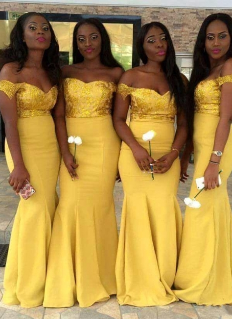 New Yellow Mermaid Bridesmaid Dresses | Sequins Off-the-Shoulder Maid of the Honor Dress