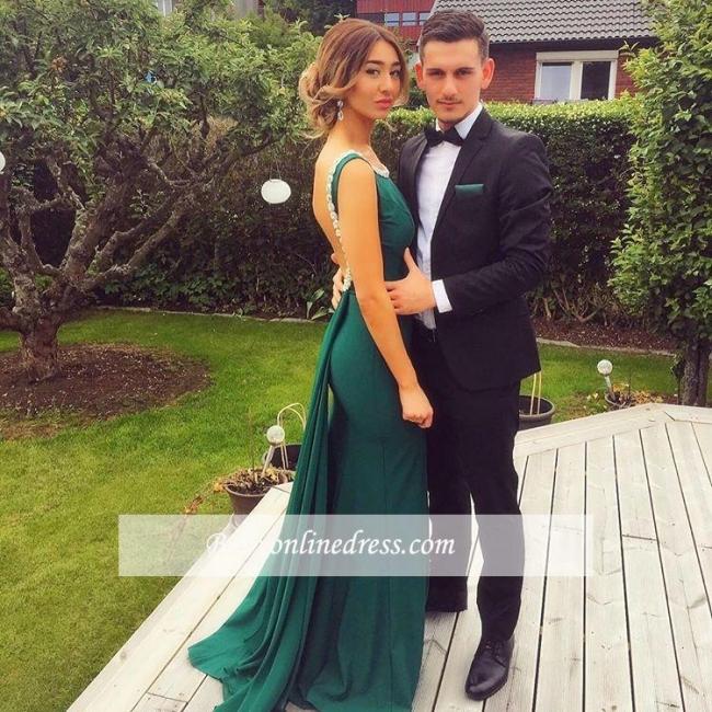 Elegant Sheath Backless Green Prom Dresses Peals Scoop Evening Dress