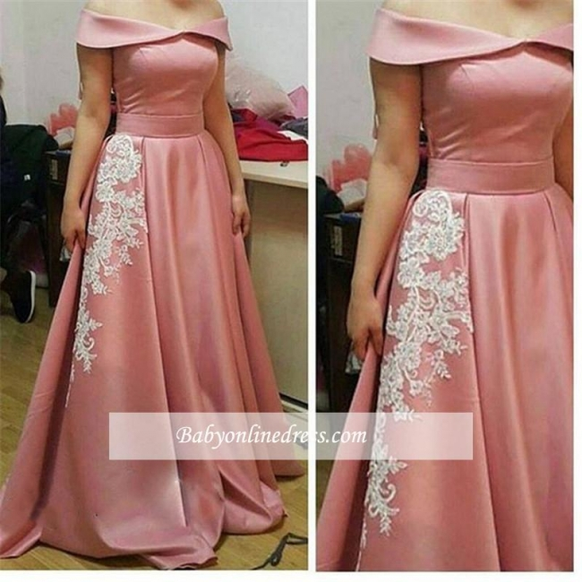 2018 Glamorous Pink Off-the-Shoulder Party Gowns A-Line Appliques Prom Dress