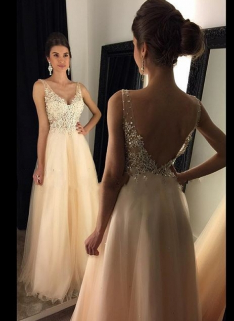 2018 Champagne Lace A-line Open-Back Long V-Neck Prom Dresses with Beadings BA4046