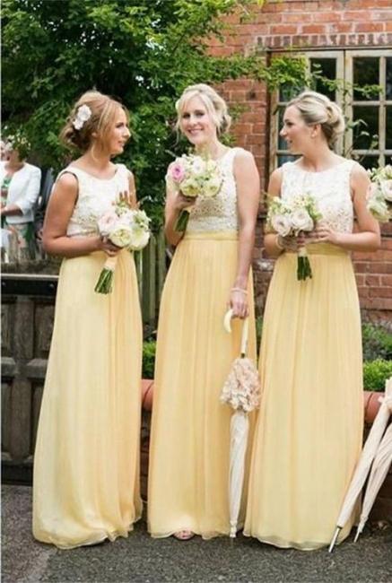 Jewel Lace Chiffon Elegant Sleeveless A-line Bridesmaid Dress